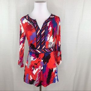 BCBGMaxAzria red printed blouse